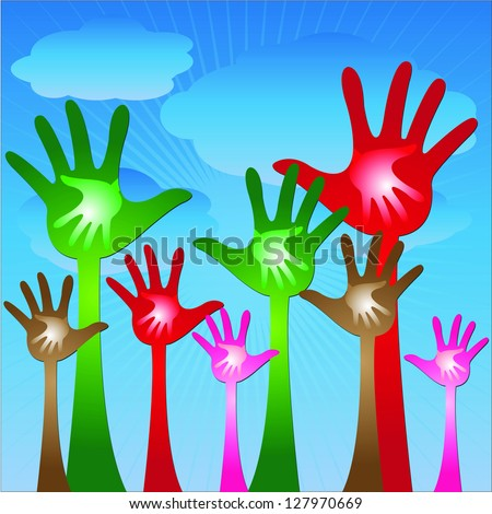Volunteer Or Family Concept Present By Colorful Adult Hand With Colorful Child Hand Inside in Blue Sky Background - stock photo
