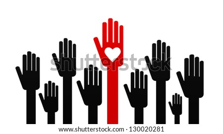 Volunteering hands representing love, three-dimensional rendering - stock photo
