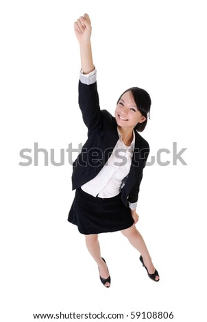 Volunteers business woman raise hand with happy smiling face, full length portrait isolated on white background. - stock photo