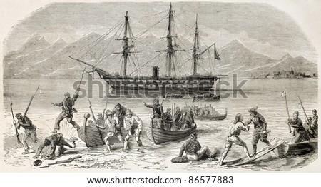 Volunteers landing in Calabria, southern Italy. Created by Worms, published on L'Illustration, Journal Universel, Paris, 1860 - stock photo