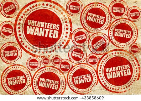 volunteers wanted, red stamp on a grunge paper texture - stock photo