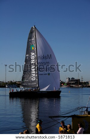 Volvo ocean race 2006. Start of leg 3. ABN AMRO yacht departure (Docklands, Melbourne, Australia). - stock photo