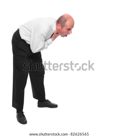 Vomiting businessman on white background. - stock photo