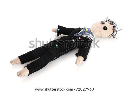 Voodoo doll boy-groom isolated on white - stock photo