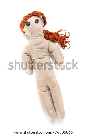 Voodoo doll girl isolated on white - stock photo