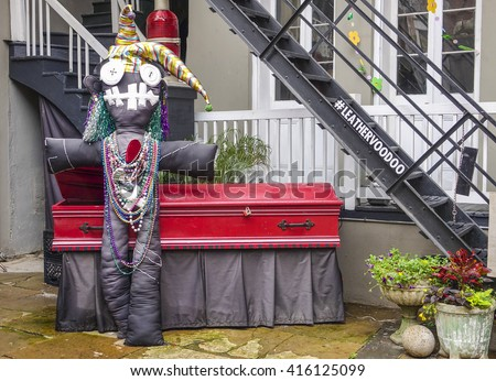 Voodoo Doll in French Quarter of New Orleans - NEW ORLEANS, LOUISIANA - APRIL 18, 2016  - stock photo