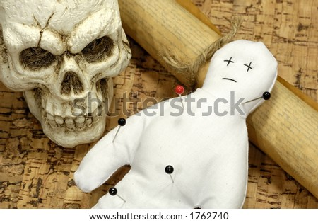 Voodoo Doll, Skull and Scroll - Voodoo Concept
