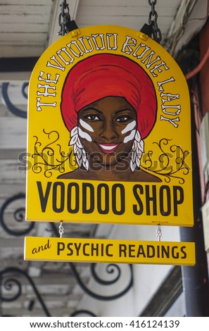 Voodoo Shop in New Orleans Louisiana - NEW ORLEANS, LOUISIANA - APRIL 18, 2016  - stock photo