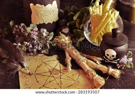 Voodoo Theme Love Potion Pentagram Symbol Stock Photo Royalty Free