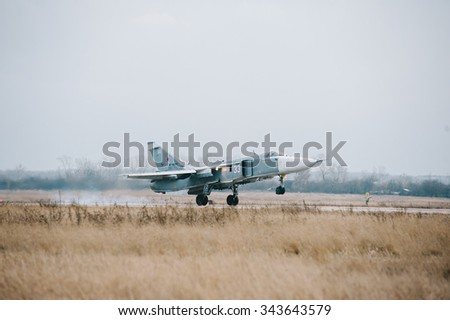 "Voronezh, Russia, December 12: a front-line bomber su-24 ""fencer,"" flies during a training flight on December 12, 2011. in Voronezh, Russia"