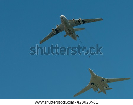 Voronezh, Russia - September 20, 2014: Il-78 simulating refueling Tu-160 at an Air show on the day of the city