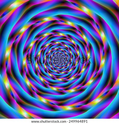 Vortex in Blue and Violet / A digital abstract fractal image with a spiral design in blue, violet, green, orange and pink.