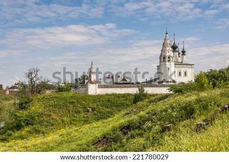Vosnesenskiy temple of 1695 in Alexandrovskiy monastery at Suzdal in summer. Russia - stock photo