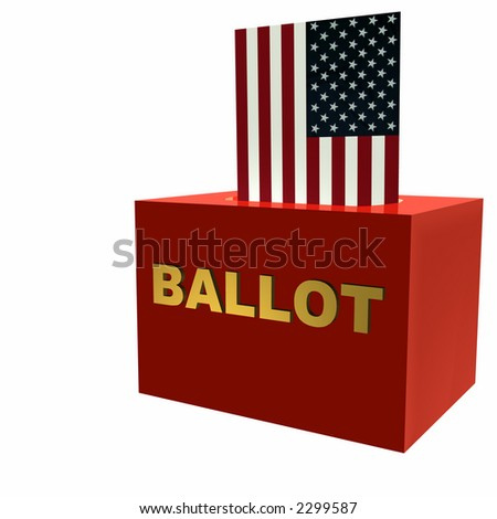 Vote! American Flag symbolically used to cast a ballot. Isolated on a white background. - stock photo