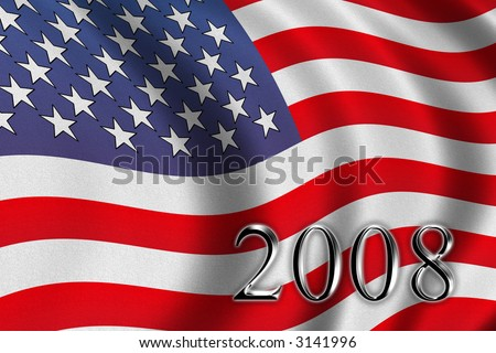 Vote 2008 - american flag waving in the wind - stock photo