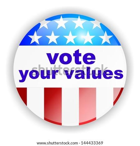 vote badge, vote your values - stock photo