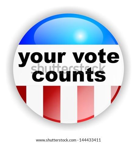 vote badge, your vote counts - stock photo