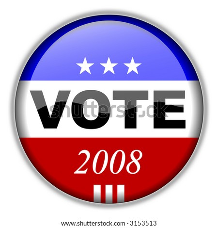 Vote Button 2008 - CLIPPING PATH INCLUDED for easy isolation without drop shadow