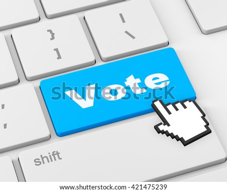 vote button on computer keyboard showing internet concept, 3d rendering