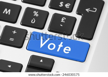 Vote button on keyboard for online electronic election