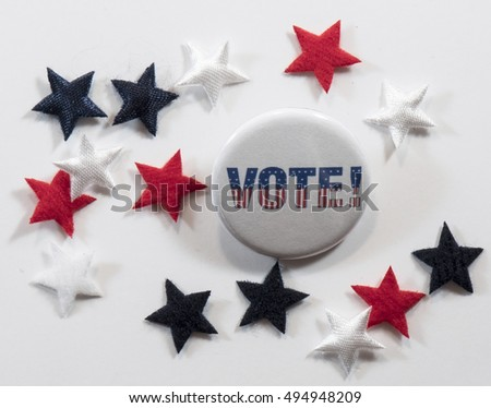 Vote button with red, white and blue stars around it