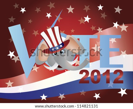 Vote Check Mark Text 2012 Republican with Elephant and US Flag Raster Vector Background - stock photo