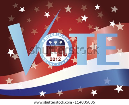 Vote Check Mark Text 2012 Republican with US Flag Background Raster Vector Illustration - stock photo
