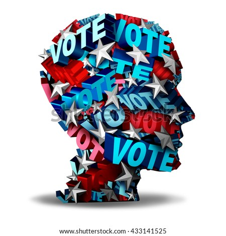 Vote concept and voting symbol as a group of 3D illustration text and stars representing a voter or candidate for an election in the USA as an icon for the American voters.   - stock photo