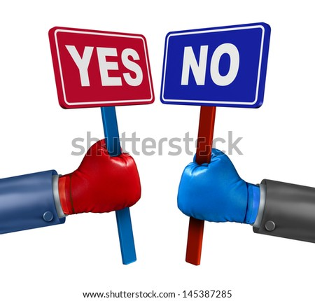 Vote conflict concept as a competition between two opposing rivals wearing boxing gloves and holding yes or no signs fighting and campaigning to change opinions on a white background. - stock photo