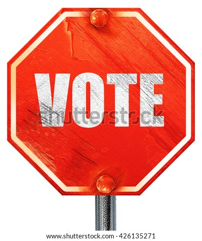 vote, 3D rendering, a red stop sign - stock photo