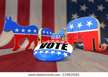 Vote Democrat or Republican - stock photo