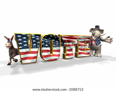 Vote! Democrats and Republicans represented by a donkey and elephant. - stock photo