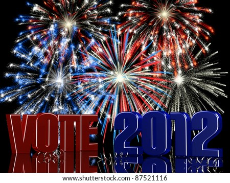 Vote 2012 - Fireworks displayed behind VOTE 2012 with reflections. In red, white, and blue - stock photo