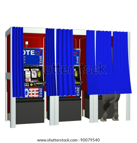 Vote 2012 - Gamble.  Donkey in a voting booth playing the slot machines. Isolated on a white. Political humor. - stock photo