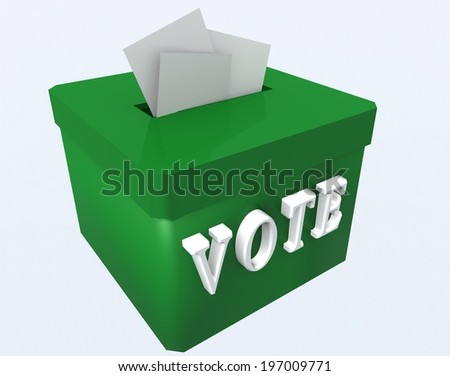 vote - green box - folders - elections - stock photo