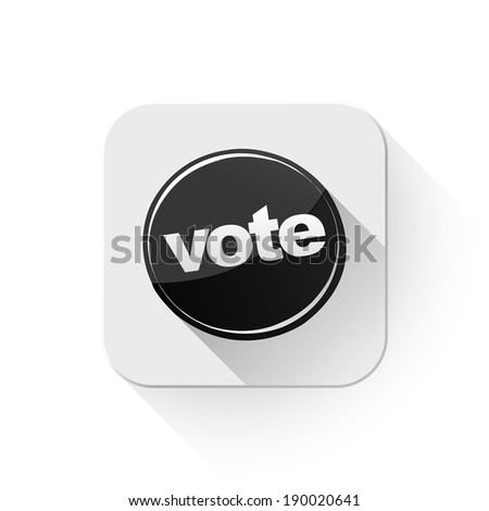 vote icon With long shadow over app button - stock photo