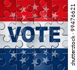 Vote in a political campaign concept with a graphic element icon of voting as a jigsaw puzzle for democratic elections organization in government positions of power for conservatives and liberals. - stock photo