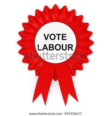 Vote Labour Red Rosette 3D Illustration - stock photo