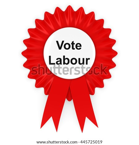 Vote Labour UK Elections Rosette Badge 3D Illustration - stock photo