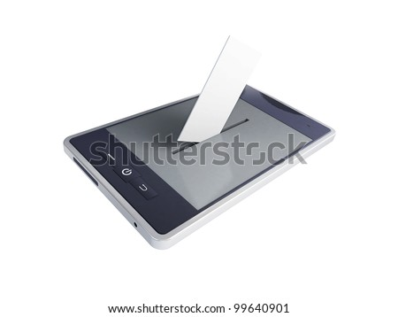 vote mobile phone on a white background - stock photo
