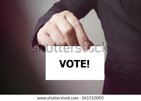 VOTE paper on the card , business concept , business idea
