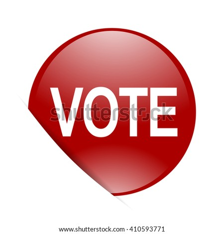 vote red circle glossy web icon - stock photo
