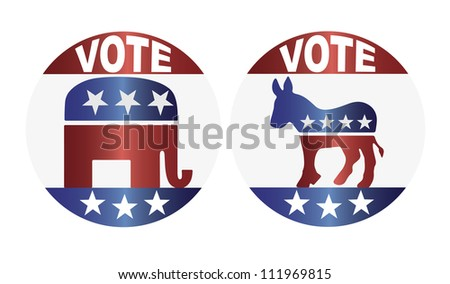 Vote Republican Elephant and Democrat Donkey Buttons Raster Vector Illustration