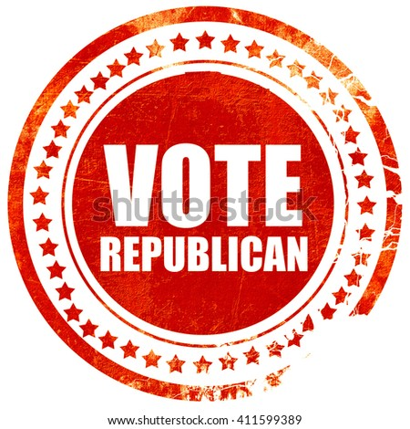vote republican, red grunge stamp on solid background - stock photo