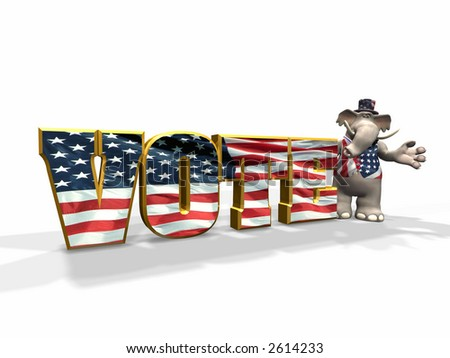 Vote Republican! Republicans represented by an elephant. Elephant positioned on the right. - stock photo
