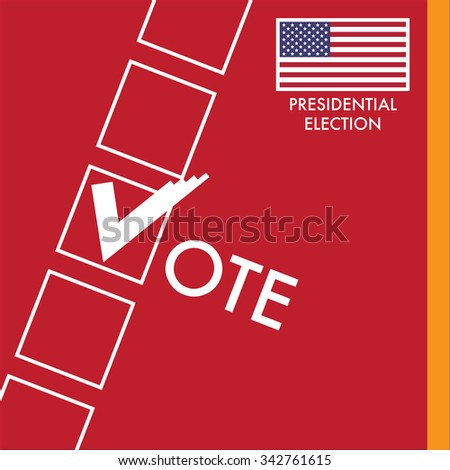 Vote Sign With Checkbox on Red Background. USA Presidential Election Design.