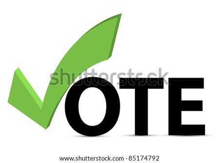 Vote text with check mark and check box - stock photo