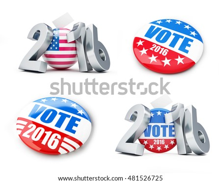 vote usa election badge button for 2016 background. 3d Illustrations on a white background