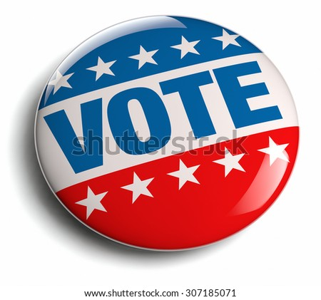 Vote USA election campaign round badge button. - stock photo