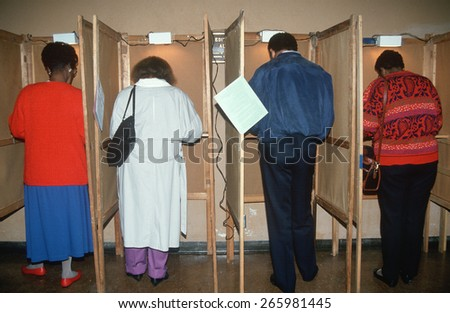 Voters casting their ballots on election day, Los Angeles, CA - stock photo